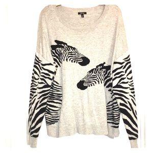 Fun Zebra Graphic Sweater Top APT 9 sz XL